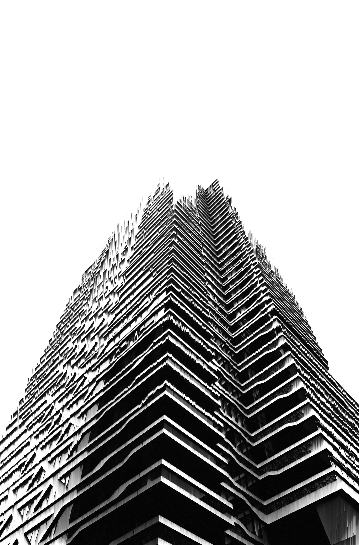 pixel sorting building skyline